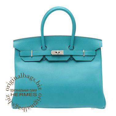 Hermes Birkin 35 Blue Paon