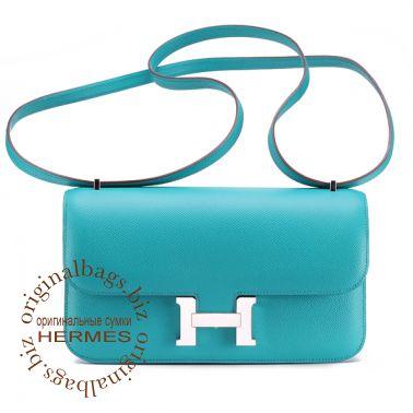Hermes Constance Elan 25 cm Blue Paon