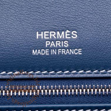 Hermes Birkin 35 Ghillies Blue de Prusse/Toile H