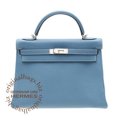 Hermes Kelly 32 Blue Jean