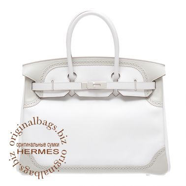 Hermes Birkin 35 Ghillies White/Pearl Grey