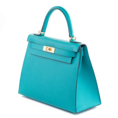 Hermes Kelly Sellier 28 Bleu Paon
