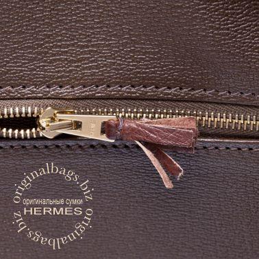 Hermes Birkin 35 Ghillies Gris Elephant/Marron Fonce/Ficelle