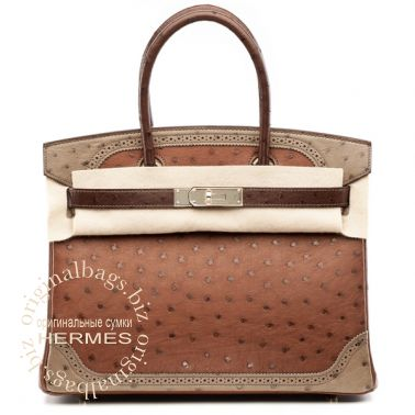 Hermes Birkin 30 Ghillies Etrusque/ Mousse/ Marron Fonce