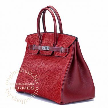 Hermes Birkin 35 Rouge H/Rouge H/Rouge H