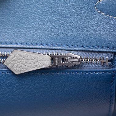 Hermes Birkin 35 Gris Mouette/Blue Agate